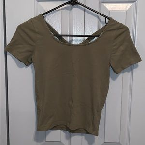 Army Green Cropped Cross Bach Tee
